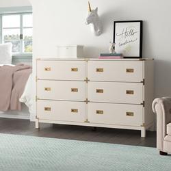 Birch Lane™ Dania 6 Drawer Double DresserWood in White, Size 37.0 H x 59.75 W x 18.0 D in | Wayfair 7E147FFF9ED7430A886695F056233C84