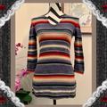 Ralph Lauren Tops | Lauren Ralph Lauren Striped 34 Sleeve Cotton Top | Color: Gray/Orange | Size: Xsp