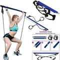 Pilates Bar with Resistance Band - Home Gym Exercise - Portable & Adjustable Yoga Toning Bar Kit with Foot Loops - Pilates Bar Attachment - Multi Functional Pilates Bar with Resistance Band(Blue)