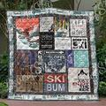 Skiing Ski Bum Quilt - Keep Calm Waitfor Snow - Keep Calm Alos Ski On Quilt Quilt Patterns All-Season Quilts Comforters with Cotton - King Queen Twin Size Beach Trips, Gifts Quilt