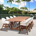 Corrigan Studio® Kessinger International Home Deluxe 9 Piece Dining Set Wood/Metal in Brown/White, Size 29.0 H x 70.5 W x 43.0 D in   Wayfair
