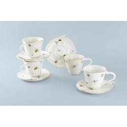 Rosdorf Park Kroeker Dragonfly Rooster Teacup & Saucer Porcelain/Ceramic in White, Size 5.5 H x 2.5 W in | Wayfair F151BF8DE70841C886157FBDAB6545B6
