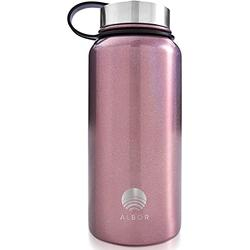 ALBOR Insulated Water Bottle with Straw - 32 Oz Water Bottle Stainless Steel Water Bottle with Straw - Metal Water Bottle with Straw Water Flask Water Bottle Insulated Water Bottle Glitter Rose Gold