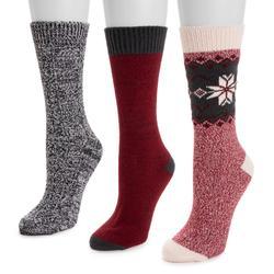 MUK LUKS Women's 3-Pair Pack Boot Socks Size One Size Red-Black
