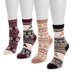 MUK LUKS Women's 4-Pack Holiday Boot Socks Size One Size Reindeer