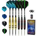 Steel Tip Darts Set - Professional Metal Tip Darts for Dartboard Extra Flights, Rubber O-Rings, Dart Sharpener, Dart Flights Protectors and Gift Case (22 Grams, 6 Pack)