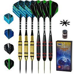 Steel Tip Darts Set - Professional Metal Tip Darts for Dartboard Extra Flights, Rubber O-Rings, Dart Sharpener, Dart Flights Protectors and Gift Case (22 Grams, 6 Pack)
