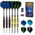 Darts Steel Tip - 22g Professional Metal Tip Darts Set of 6 w/Aluminum Shaft + 12pcs Dart Flights + 8pcs Flight Protectors + Dart Sharpener