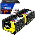 GPC Image Remanufactured Ink Cartridges Replacement for Epson 252XL 252 XL T252XL T252 for Workforce WF-3640 WF-3620 WF-7710 WF-7610 WF-7720 WF-7110 WF-7210 Printer (8 Pack)