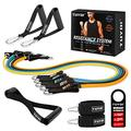 TUYOI Resistance Bands Set,Workout Bands,Exercise Bands,5 Tubes Fitness Bands with Door Anchor,Handles,Portable Bag,Legs Ankle Straps for Home Workouts,Home Gym Equipment for Men/Women
