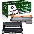 Henwi Compatible Toner Cartridges & Drum Unit Replacement for Brother DR420 DR-420 TN450 TN-450 Toners use with Brother HL-2240/2270 DCP-7060D MFC-7365DN Printer (1x Drum + 1x Toner, 2-Pack)