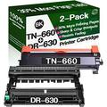 Henwi Compatible Toner Cartridges & Drum Unit Replacement for Brother DR630 DR-630 TN660 TN-660 Toners use with Brother HL-L2300D MFC-L2680W MFC-L2740DW Printer (1x Drum + 1x Toner, 2-Pack)