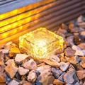 XingTong Solar Ice Cube Lights - Solar Brick Light 4LED Landscape Light Crystal Brick Light Outdoor Path Lights Waterproof for Outdoor Garden Patio Yard Lawn Pool Decoration 4 Pack (Warm White)