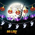 Halloween String Lights, Set of 3 Total 60 LED, Battery Operated Halloween Lights for Outdoor Indoor Decorations, Light String for Halloween Party, Path Light (Orange Pumpkin, White Ghost, Purple Bat)