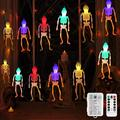 BLOOMWIN LED Halloween String Lights, 20 LED 10 Feet Colorful Skeleton Skull Decorative String Lights Battery Operated Halloween Decoration Lights with Remote Control for Indoor Outdoor Party Decor