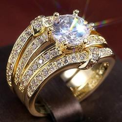 925 Sterling Silver CZ Ring Round Cut Cubic Zirconia Ring High-end Faceted Cushion Simulation 4 Carat Diamond Fashion Wedding or Engagement Ring Women's Three-Piece Set (Gold, 7)