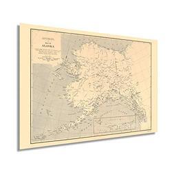 HISTORIX Vintage 1909 Alaska State Map - 24x36 Inch Vintage Map of Alaska Wall Art Decor - US Geological Survey of State of Alaska Map Poster - Historic Alaska Wall Map - Old Map Alaska (2 Sizes)