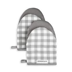 KitchenAid Gingham 2-Piece Oven MittPolyester/Silicone/Cotton in Gray, Size 5.5 W in | Wayfair M2013122TDKA 065