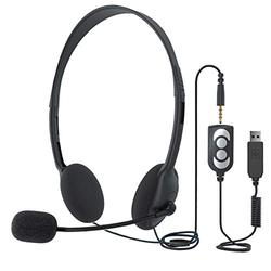 USB Headset Computer Headset with Microphone, Lightweight PC Headset Wired Headphones, 3.5mm Jack Call Center Headset for Cell Phone Business Headset for Skype Webinar Cell Phone Call Center