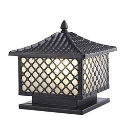 SkyTalent Retro Exterior Post Light, Tile House Outdoor Column Light Waterproof Pillar Light Fixture with Frosted Glass Shade and Black Finish (9.84x9.84x11.02inch)