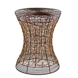FINECASA Accent Side Table,Small End Table,Bedside Table with Rattan Twining,Small Side Tables for Bedroom,Living Room,Small End Table,Metal Frame Table 16.5X16.5X20.75 Inches,Walnut