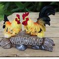"""Danmu Polyresin Hen and Rooster Chichen Statue, Hen Statue, Rooster Statue, Garden Statues, Outdoor Statues, Garden Ornaments, Yard Statue for Home and Garden Decor 10.62"""" x 2.75"""" x 8.26"""""""