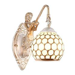 SkyTalent Modern Metal Caged Wall Light with Mermaid Decoration, Wall Mount Fixture Stylish Wall Sconces Wall Lighting Country Retro Style Shell Shade Sconce Lighting