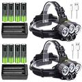 2Pack USB Rechargeable Headlamp with 8x Rechargeable Battery and 2x 18650 Battery Charger, 6 Modes,Waterproof LED Head Torch Head Light for Camping, Fishing, Car Repair, Outdoor