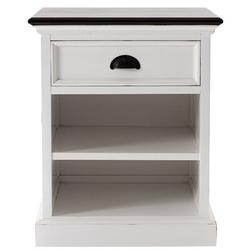 Longshore Tides Barba 1 - Drawer Nightstand in White/Deep BrownWood in Brown/Red/White, Size 23.62 H x 24.02 W x 19.69 D in   Wayfair