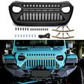 TOPFIRE Front Grill Compatible with 2018 2019 2020 2021 Jeep Wrangler JL JLU & Unlimited Rubicon Sahara Sport and 2020 Gladiator with 6 PCs Amber Lights, Matte Black