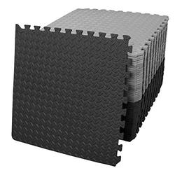 innhom Gym Flooring Gym Mats Exercise Mat for Floor Workout Mat Foam Floor Tiles for Home Gym Equipment Garage, 24 Black and 24 Gray