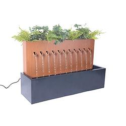 Hi-Line Gift Ltd. Two-Toned ZINC Metal Fountain with Planter, Rust; Black