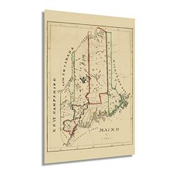 HISTORIX Vintage 1820 Maine State Map - 24x36 Inch Maine State Vintage Map - Wall Map Maine State Wall Art - Vintage Maine Map Poster - Old Map of Maine Wall Art - Maine Poster Map (2 Sizes)