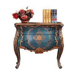 QERNTPEY Chest of Drawers Vintage of Drawers,Rustic Retro Furniture Painted Hand-Painted Porch Drawer Locker Large Storage Space (Color : Blue, Size : 95x46x89cm)