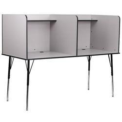 Flash Furniture Laminate Adjustable Height Study Carrel Laminate/Metal, Size 53.5 H x 70.0 W x 30.0 D in | Wayfair MT-M6222-GRY-DBL-GG