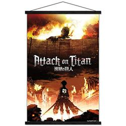 """Trends International Attack on Titan - Fire Wall Poster with Wooden Magnetic Frame, 22.375"""" x 34"""", Print and Black Hanger Bundle"""