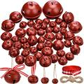 Skylety 50 Pieces Jingle Bell with Star Cutouts Ornaments Metal Christmas Sleigh Bells Assorted Sizes for DIY Decoration Christmas Tree Wreath Garland Ornaments (Dark Red Bells)