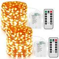 JMEXSUSS 2 Pack Fairy Lights Battery Operated with Remote,50ft 150 LED (Upgraded Oversize Lamp Beads) Super Bright String Lights Indoor,8 Modes Warm White Copper Wire Twinkle Lights Outdoor Waterproof