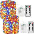 JMEXSUSS 150 LED Fairy Lights Battery Operated with Remote, 2 Packs 50ft Super Bright Fairy String Lights Indoor, 8 Modes Multicolor Copper Wire Twinkle Lights Outdoor Waterproof