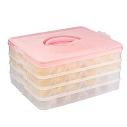 4 Layers Kitchen Covered Dumpling Tray Holder,Refrigerator Storage Container,Food Buns Chaotic Sealed Fresh Storage Box Bin,Clear Plastic Organizer,Dumpling Storing Divider Case,Stackable Crisper