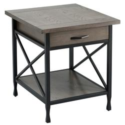 Gray/Matte Black X Design Mixed Wood and Metal Drawer End Table - Leick Home 23007