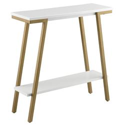 Mixed Metal and Wood Hall Console - Leick Home 11431-WT