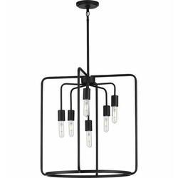 George Oliver Sorcha 6 - Light Single Geometric Pendant Metal in Black, Size 23.13 H x 22.0 W x 22.0 D in | Wayfair
