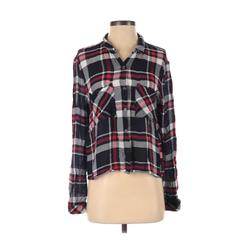 Cotton On Long Sleeve Button Down Shirt: Blue Plaid Tops - Size Small