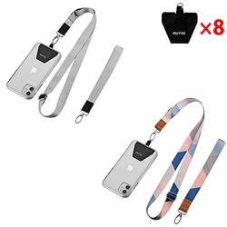 OUTXE Universal Phone Lanyard - 8× Durable Pads, 2× Adjustable Neck Strap, 2× Wrist Strap, Nylon Cell Phone Lanyard Compatible with iPhone, Samsung Galaxy and All Smartphones ( Grey + Blue Stripes )