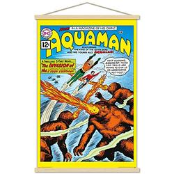 """Trends International DC Comics - Aquaman - The Invasion of The Fire-Trolls Wall Poster with Wooden Magnetic Frame, 22.375"""" x 34"""", Premium Print and Beechwood Hanger Bundle"""