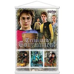 """Trends International Harry Potter and The Goblet of Fire - Triwizard Tournament Wall Poster with Wooden Magnetic Frame, 22.375"""" x 34"""", Premium Print and White Hanger Bundle"""