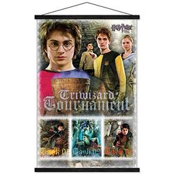 """Trends International Harry Potter and The Goblet of Fire - Triwizard Tournament Wall Poster with Wooden Magnetic Frame, 22.375"""" x 34"""", Premium Print and Black Hanger Bundle"""