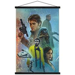 """Trends International Star Wars: Solo - Celebration Mural Wall Poster with Wooden Magnetic Frame, 22.375"""" x 34"""", Premium Print and Black Hanger Bundle"""