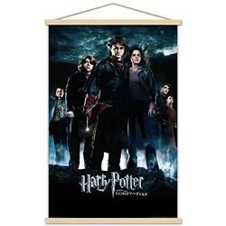 """Trends International Harry Potter and The Goblet of Fire - Group One Sheet Wall Poster with Wooden Magnetic Frame, 22.375"""" x 34"""", Premium Print and Beechwood Hanger Bundle"""